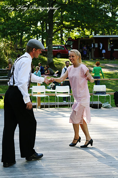 Swing dancers at a dance picnic at Kopphagens dansbana. Copyright: Henrik Eriksson. The photo may not be published elsewhere without written permission.