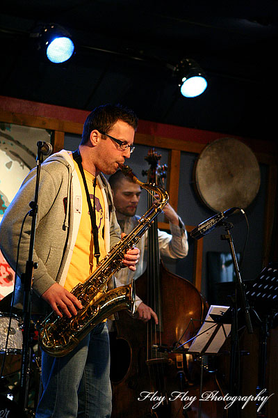 Fredrik Nordstrm (saxophone) and Pr-Ola Landin (bass). Pidgin at Hijazz. Copyright: Henrik Eriksson. The photo may not be published elsewhere without written permission.