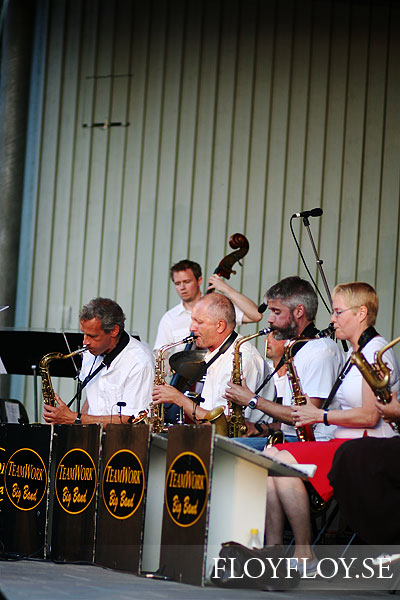 Teamwork Big Band plays songs of Povel Ramel at Parksnäckan. Copyright: Henrik Eriksson. www.floyfloy.se. The photo may not be published elsewhere without written permission.