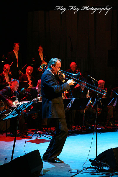 Ulf Johansson Werre (trombone, piano, composer, band leader) with Big Band Explosion at Great Jazz Party at Uppsala Konsert &amp; Kongress. Copyright: Henrik Eriksson. The photo may not be published elsewhere without written permission.