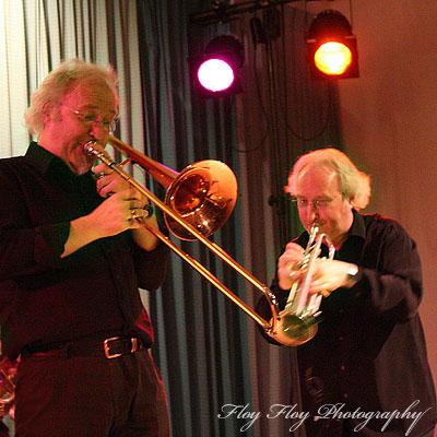 Helge Førde (trombone) and Jarle Førde (trumpet/flugelhorn). Brazz Brothers at Uppsala Winter Swing. Copyright: Henrik Eriksson. The photo may not be used elsewhere without my permission.