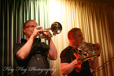 Jan Magne Førde (trumpet/flugelhorn) and Runar Tafjord (french horn). Brazz Brothers at Uppsala Winter Swing. Copyright: Henrik Eriksson. The photo may not be used elsewhere without my permission.