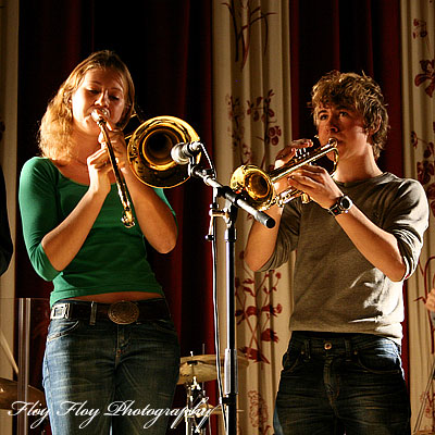 Johanna Grim (trombone) and Henrik Grim (trumpet) at Youth Jazz Contest 2006. Copyright: Henrik Eriksson. The photo may not be published elsewhere without written permission.